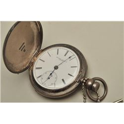 Rockford Watch Col. Pocket watch, Dueber  signed coin silver case, second hand, with  key, running,