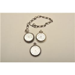 Hamden Watch Co. silver case open face pocket  with chain. Coin silver case, second hand,  some dent