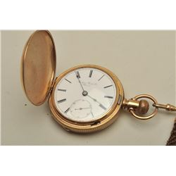 Rockford Watch Co. Hunting case pocket watch,  gold filled, woven hair Fob, lever set,  second hand.