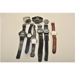 9 later quartz watches various makers,  running condition not known Collector's  estate. Est:450-100