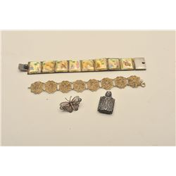 Lot of 4 antique pieces, 2-Bracelets from the  Orient, a perfume bottle and a silver pin.  Est:$50-1