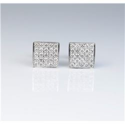 "Dazzling earring micro set with fifty ""IDEAL""  cut diamonds weighing approx 1.25 carats of  F-G colo"