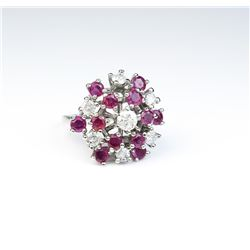 Nice Vintage design cluster ring set with 19  round diamonds and rubies weighing approx  2.00 carats