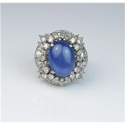 Amazing ring featuring a fine Natural Burmese  Blue Star Sapphire weighing approx 14.25  carats and