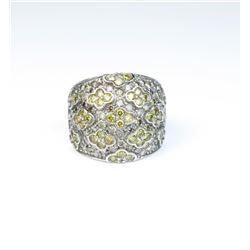 Exquisite designer ring featuring over 150  round diamonds weighing approx 3.00 carats of  vivid yel