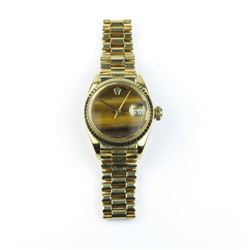 Nice ladies 26MM 18karat gold President Date  Just Rolex with Tigers eye dial in good  condition. Ch