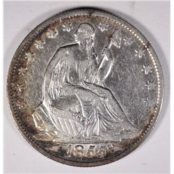 1855-O WITH ARROWS SEATED HALF DOLLAR, AU cleaned