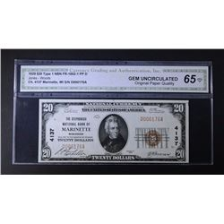 1929 $20 TY1 NATIONAL CURRENCY CGA 65-OPQ