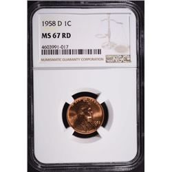 1958-D LINCOLN CENT, NGC MS-67 RED