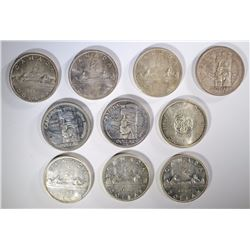 10 MIXED DATE CANADIAN SILVER DOLLARS