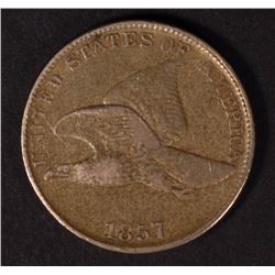 1857 FLYING EAGLE CENT, VF/XF