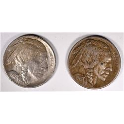 1913 & 13-D TYPE-1 BUFFALO NICKELS, XF/AU