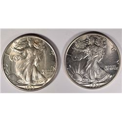1935 & 1936 WALKING LIBERTY HALF DOLLARS, CH BU+