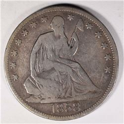 1858 SEATED HALF DOLLAR, VG
