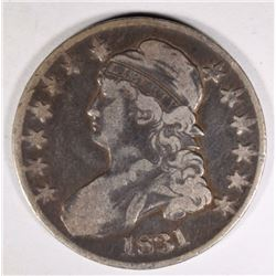 1831 CAPPED BUST HALF DOLLAR, FINE few scratches
