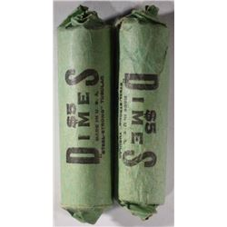 2-WRAPPED ROLLS OF SILVER ROOSEVELT DIMES