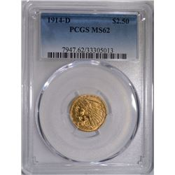 1914-D $2.50 GOLD INDIAN PCGS MS62