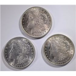 3 - 1921 MORGAN DOLLARS - NICE BU's