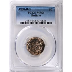 1938-D/S BUFFALO NICKEL PCGS MS64