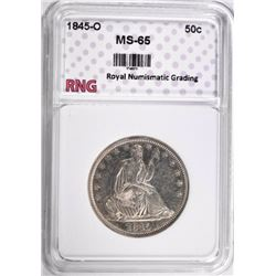 1845-O SEATED HALF DOLLAR RNG GEM BU