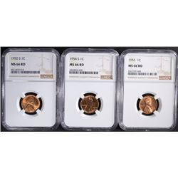 1952-S, 54-S & 55 LINCOLN CENTS NGC MS66RD