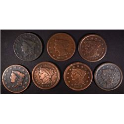 7-LOWER GRADE LARGE CENTS:
