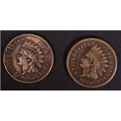 2-1862 INDIAN CENTS, VF & XF
