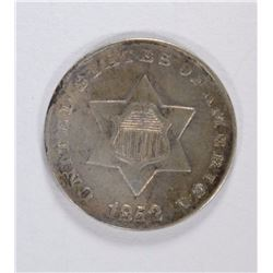1852 3-CENT SILVER, XF