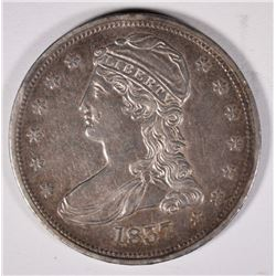 1837 REEDED EDGE BUST HALF, AU initials carved on