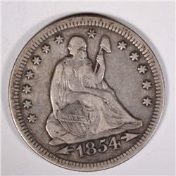 1854 WITH ARROWS SEATED QUARTER, VF/XF