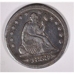 1853 WITH ARROWS & RAYS SEATED QUARTER, VF/XF