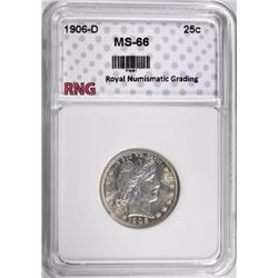 1906-D BARBER QUARTER RNG SUPERB GEM