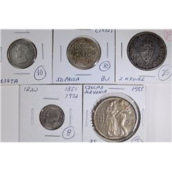 LOT OF 5: 1904 SPAIN PESETA; 1932 NEPAL 50 PAISA;