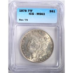 1878 7TF REV 79 MORGAN HALF DOLLAR