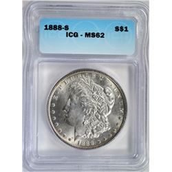 1888-S MORGAN DOLLAR ICG MS62