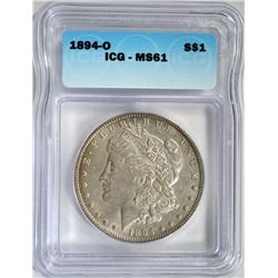 1894-O MORGAN DOLLAR ICG MS61