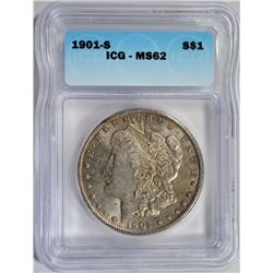 1901-S MORGAN DOLLAR ICG MS62
