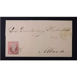 1858 LETTER w/STAMP SPAIN 4 CUARTOS STAMP