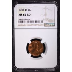 1938-D LINCOLN CENT, NGC MS-67 RED