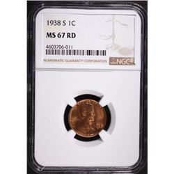 1938-S LINCOLN CENT, NGC MS-67 RED