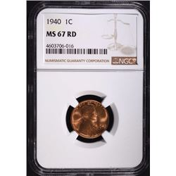 1940 LINCOLN CENT, NGC MS-67 RED