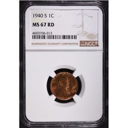 1940-S LINCOLN CENT, NGC MS-67 RED