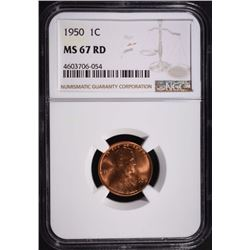 1950 LINCOLN CENT, NGC MS-67 RED
