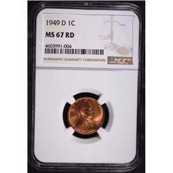 1949-D LINCOLN CENT, NGC MS-67 RED