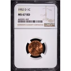 1952-D LINCOLN CENT, NGC MS-67 RED