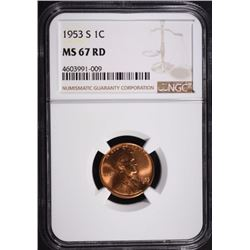 1953-S LINCOLN CENT, NGC MS-67 RED