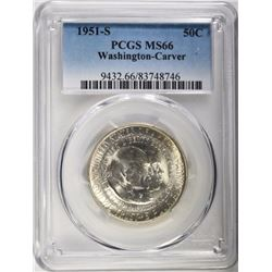 1951-S WASHINGTON-CARVER HALF DOLLAR PCGS MS66