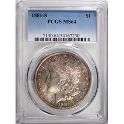 1881-S MORGAN DOLLAR PCGS MS64