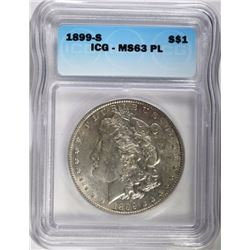 1899-S MORGAN DOLLAR ICG MS63 PL