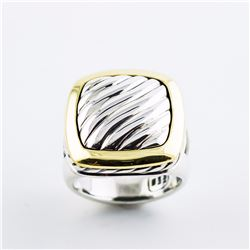 Classic David Yurman Sterling Silver and 18K Ring